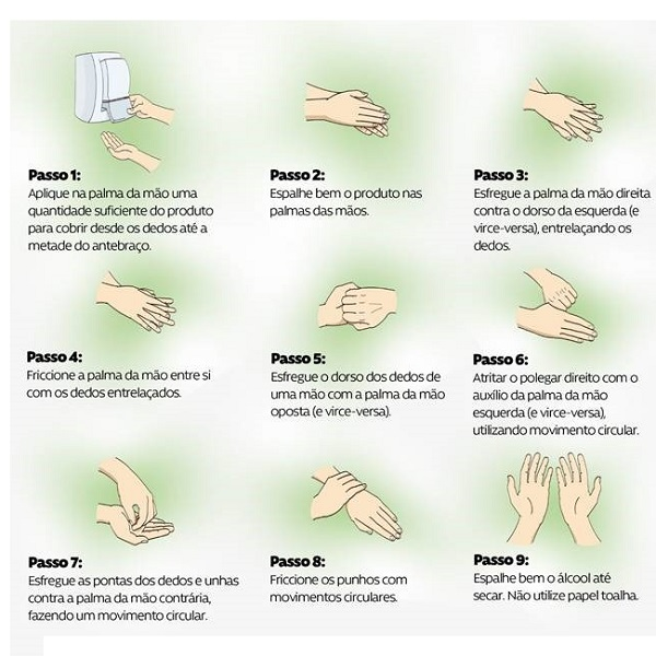 Veja a forma correta de higienizar as mãos com alcoól